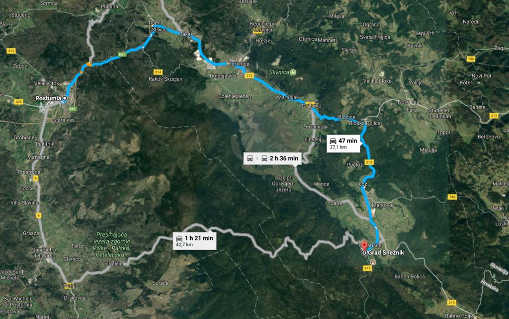 mappa da Postumia a Sneznik