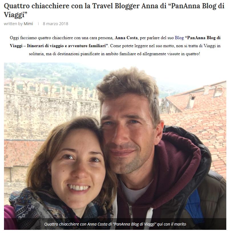 la prima intervista a PanAnna blog di viaggi